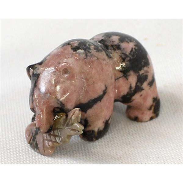 Carved Rhodonite Bear