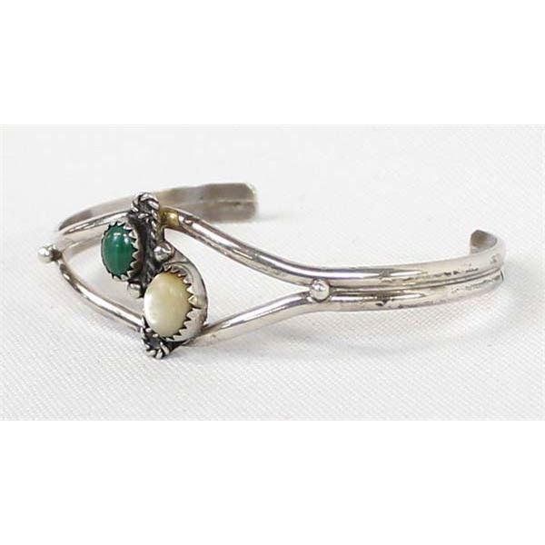Navajo Silver Malachite, Mother of Pearl Bracelet