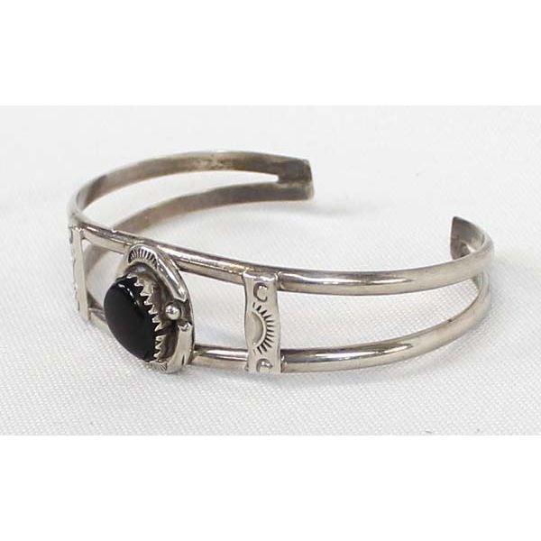 Navajo Sterling Onyx Cuff Bracelet