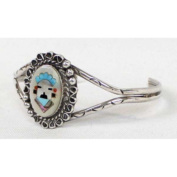 Navajo Sterling Inlay Cuff Bracelet by Johnson