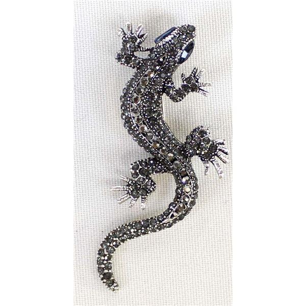 Marcasite & Cast Metal Lizard Pin Pendant
