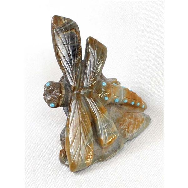 Zuni Picasso Marble Dragonfly & Pueblo Fetish