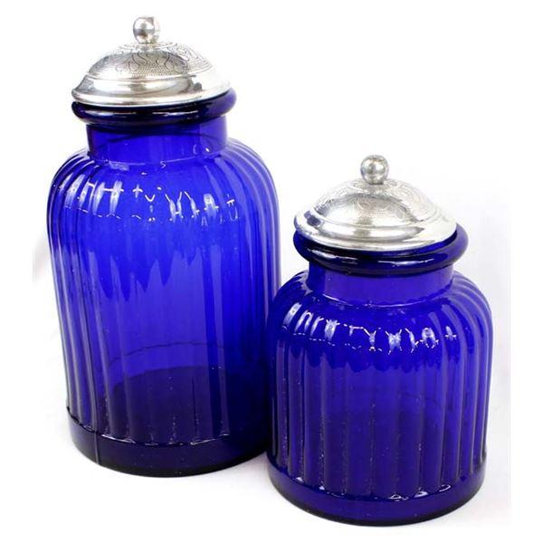2 Large Cobalt Blue Glass Cannisters