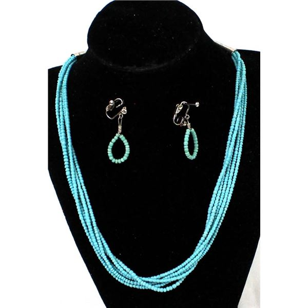 Turquoise Glass Bead Necklace & Earrings