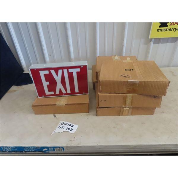 "6 Plastic Exit Signs 7.5"" x 12"""
