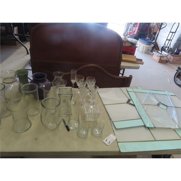 """14 Vases, Assorted Cut Glass, 3 Stained Glass 24"""" x 24"""""""