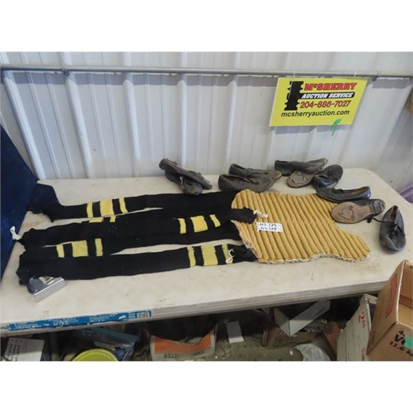 Vintage Sports - Hockey Socks, Back Catchers, Chest Protector, Old Cleat Shoes