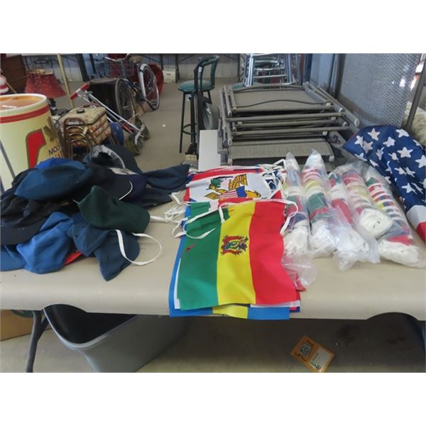 6 Packages World Flags & Box of Assort Hats