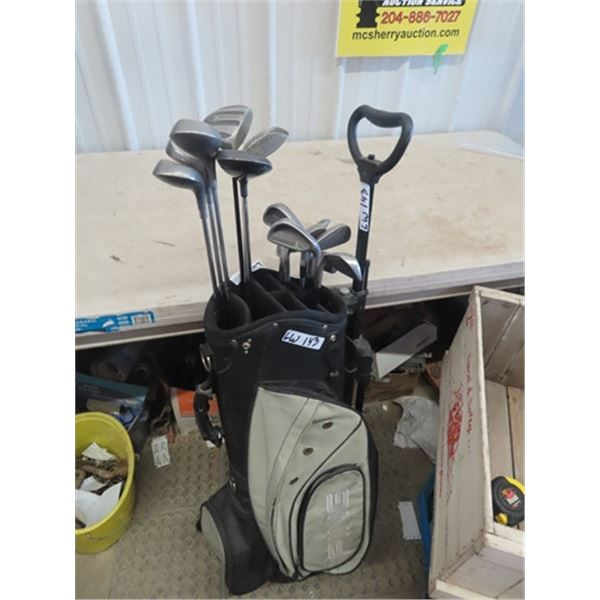 (LW) 9 Ladies Left Handed Golf CLubs, 6 Mens Right Handled Golf Clubs w Bag & Cart