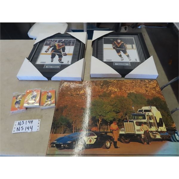 2 Framed Pictures- Tiger Williams, Thomas Gradin, Hockey NHL Cards & I Can't Truck 55