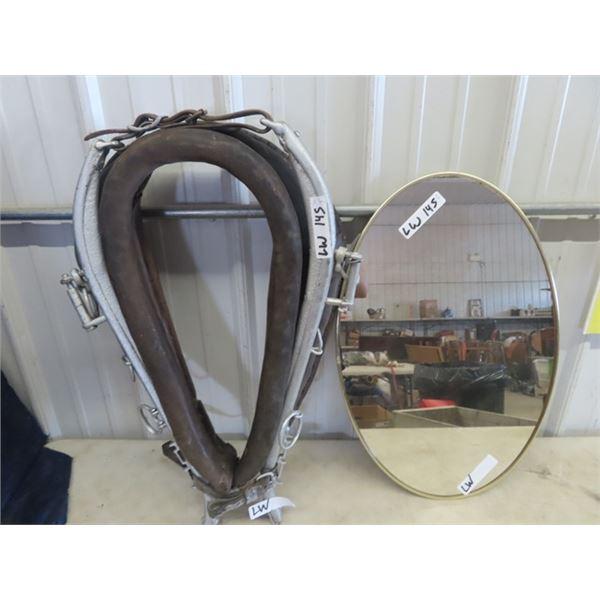 (LW) Oval Mirror & Horse Collar