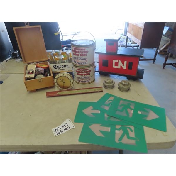 Box Full of Shoe Polish, & Accessories, 2 Roger Sugar Tins, Corona Bottles, Old Clock, Wooden CN Dis