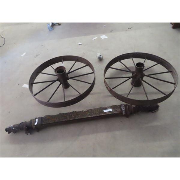 """(LW) 2 Steel Wheels- 34"""" Rd & Axle"""