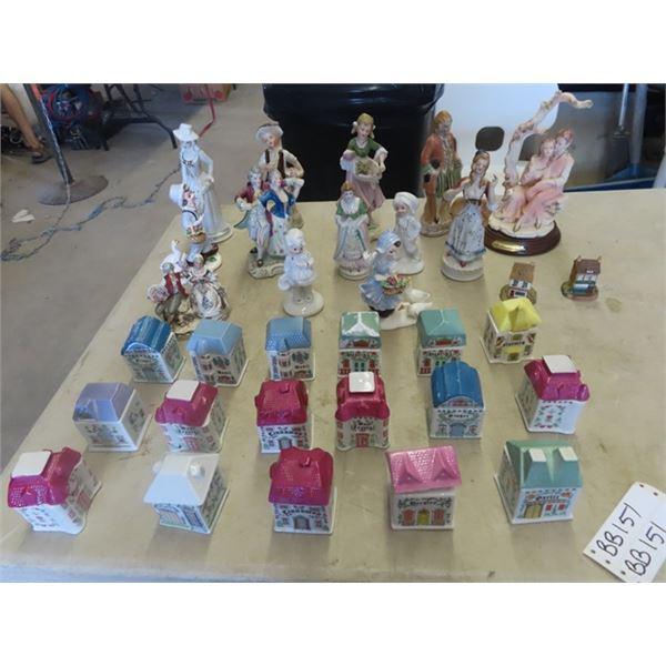 18 Ceramic Spice Containers, Various Figurines & More