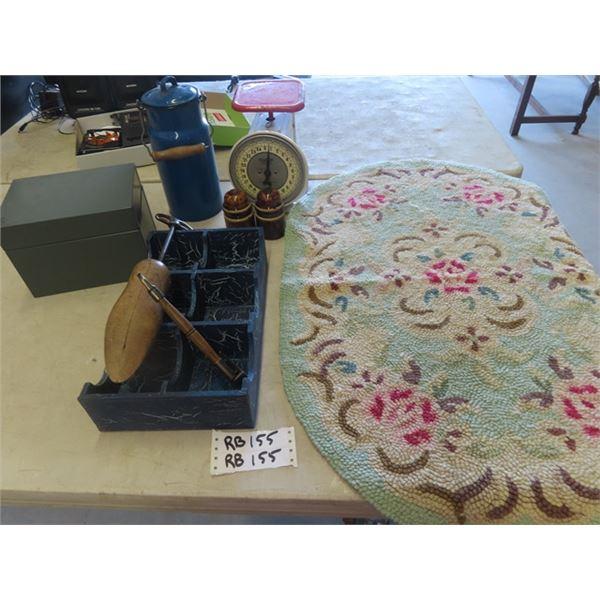 Vintage Scale , Enamel Pot, Rug, Metal Box, Wooden Organizer, Insulators & More