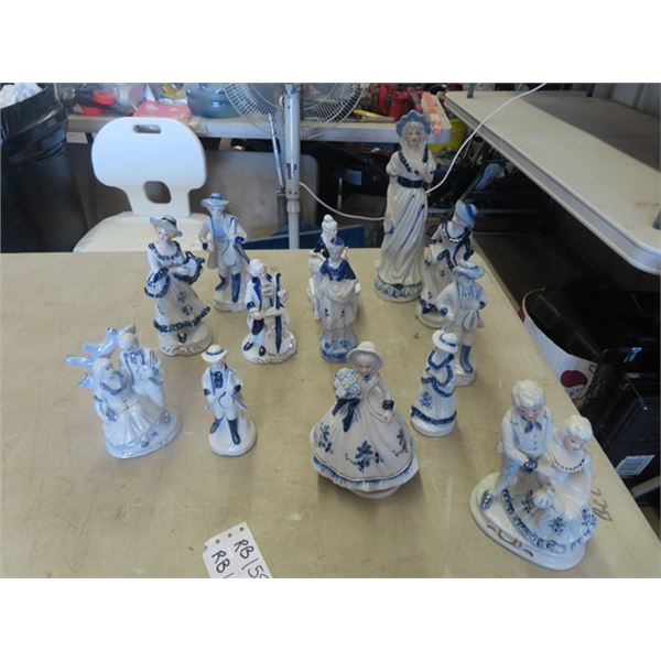 """14 Blue & White Figurines - Tallest is 12"""""""