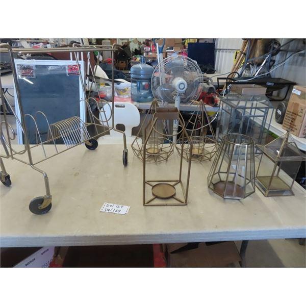 (DW) 6 Metal Lanterns & Metal Record Shelf
