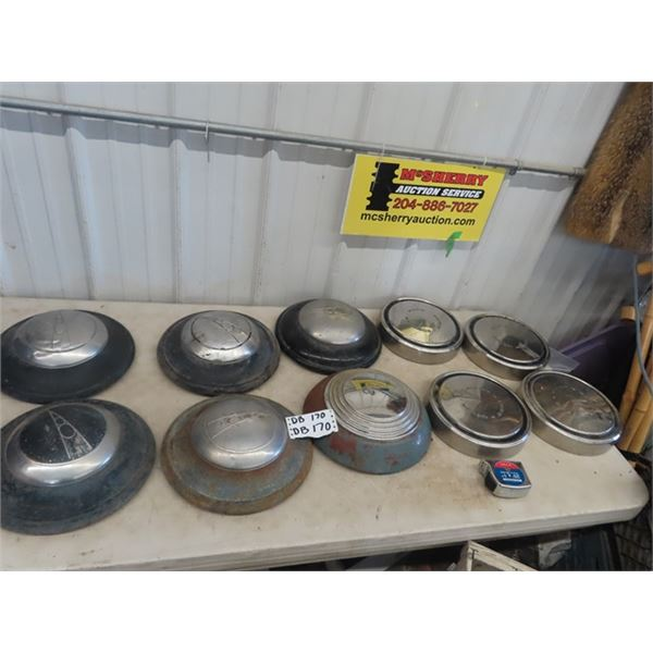6 Ford V8 Hubcaps, & 4 Ford Motor Co Hubcaps