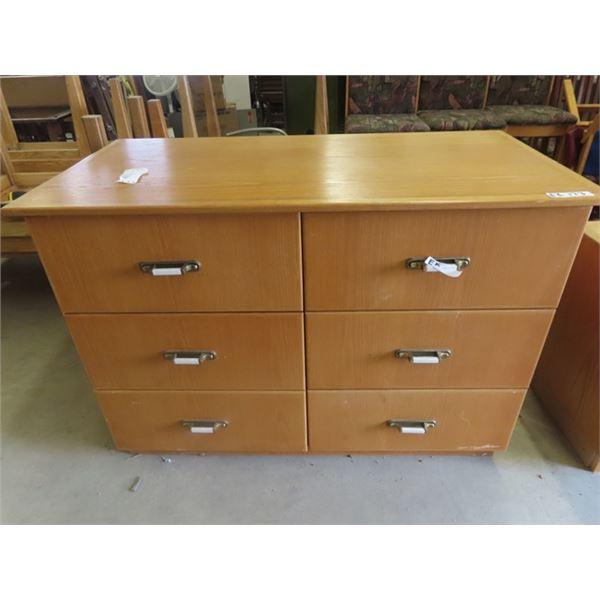 "(EK) Oak 6 Drawer Cabinet 35"" x 50"" x 25"""