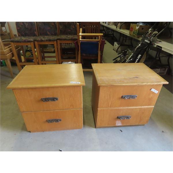 (EK) Oak Cabinet & Nite Table