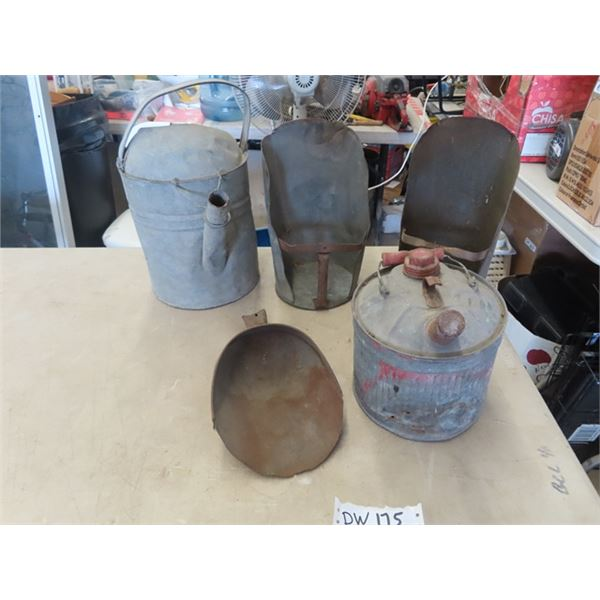 (DW) 5 Galvanized Items, Gas Can, Watering Can & 3 Ash Scoops
