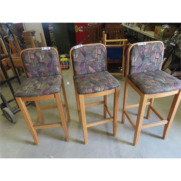 (EK) 3 Oak & Upholstered Bar Stools