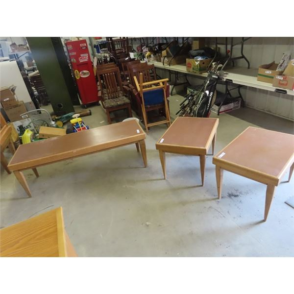 """(EK) Coffee Table & End Tables Coffee Table is 20"""" x 60"""" x 21"""" - End Tables are 20"""" x 30""""x 21"""""""
