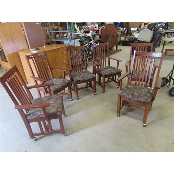 (EK) 6 Matching Captain DR Chairs on Castors