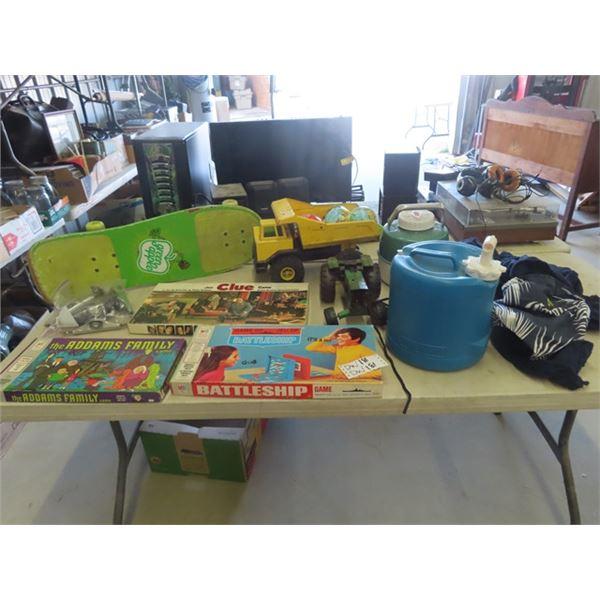 (DW) 2 Tonka's 3 Retro Board Games, Skateboard, 4 Small Balls, Water Jug, Coleman Jug & Corona Hammo