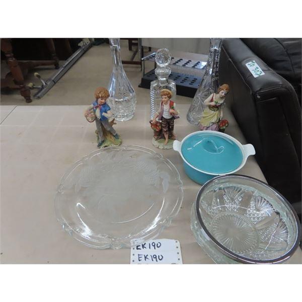 (EK) 3 Decanters, Platter, Cast Bowl w Lid, Crystal Cut Bowl, & # Figurines