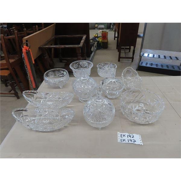 (EK) 10 Pc Crystal Cut Bowls
