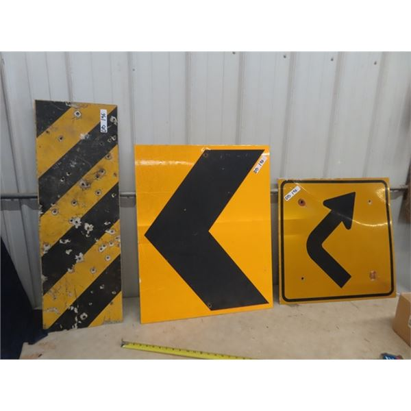"""3 Highway Signs - Metal Curve Sign 24"""" x 24"""" , Warning Curve 24"""" x 30"""" & Warning Barricade 12"""" x 34:"""