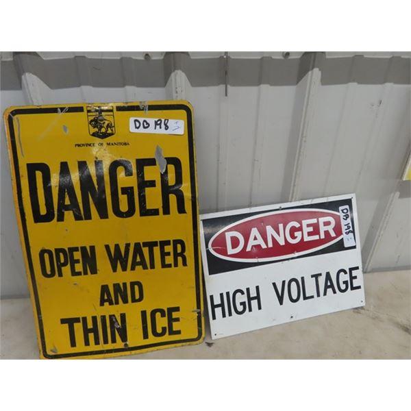 "Metal Danger Thin Ice w MB Shield 12"" x 18"": & Metal Danger High Voltage 10"" X 14"""