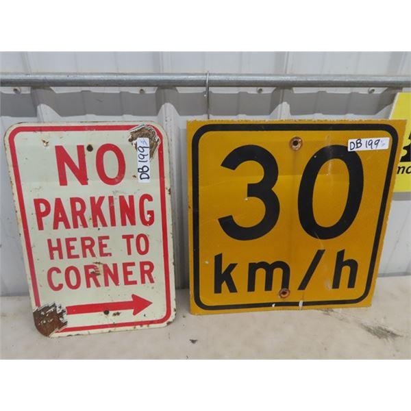 "Metal No Parking 12"" x 18"" & Metal 30 KM 18"" x 18"""