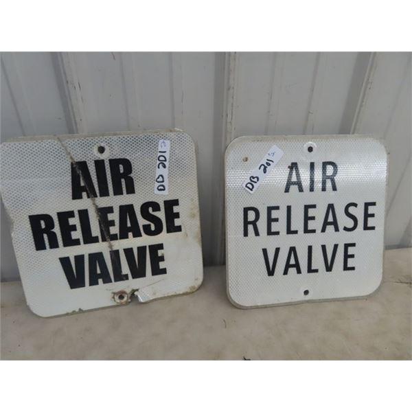 "2 Metal Air Release Valve Signs 12"" x 12"""