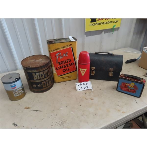 3 Oil Cans & Metal Lunch Kit & Thermos