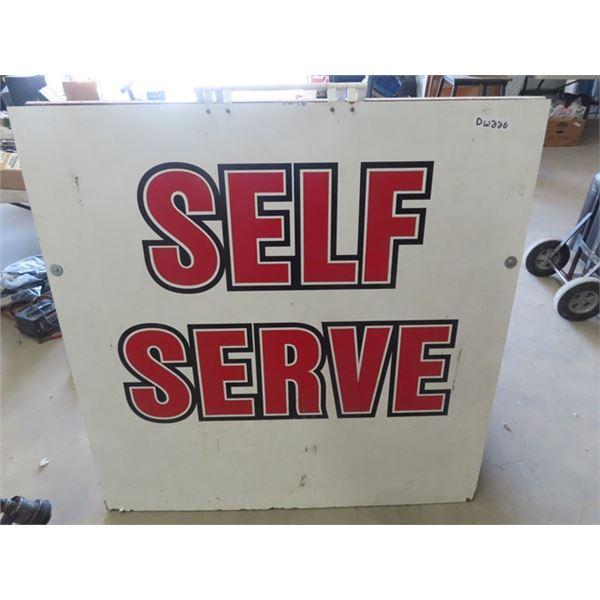 "(DW) Roadside Self Serve Sign - Wooden 2 Sided 48"" x 48"""