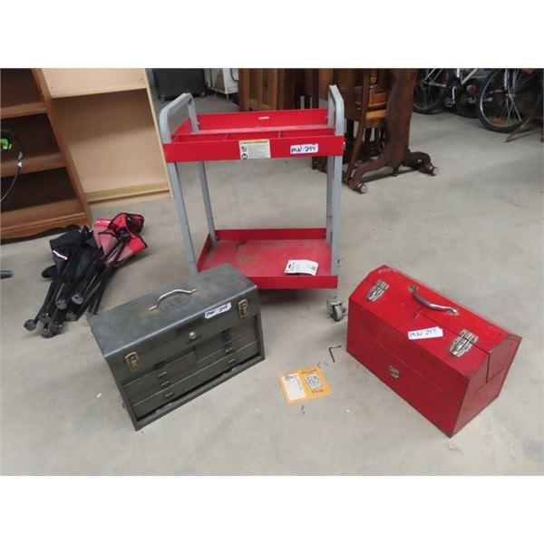 (MN) Shot Parts Carts, & 2 Metal Tools Boxes