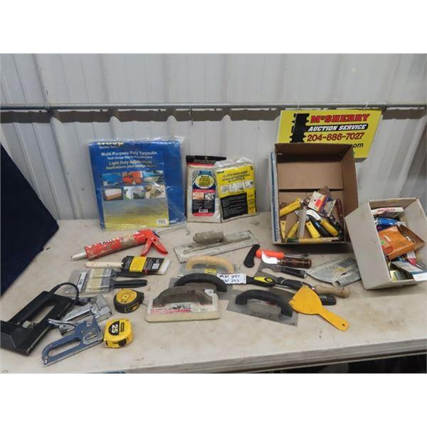 (MN) Trowels, Paint Drop Sheets, Tarp, Paint Brushes, Power Stapler, Utility Knives, Staples Plus Mo