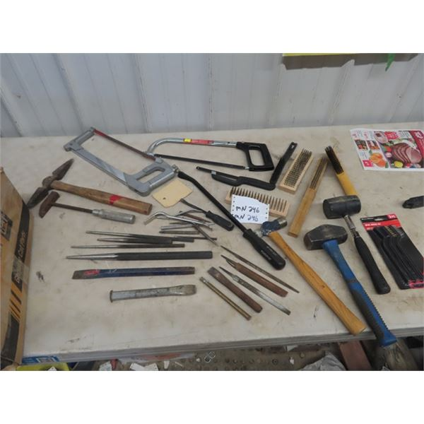 (MN) Hack Saws, Steel Brushes, Sledge Hammer Chisel Punches, Files, Plus More!