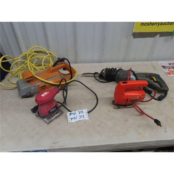 (MN) 4 Power Tools, Belt Sander, Reciprocating Saw, Jig Saw, Palm Sander