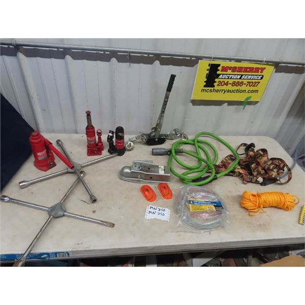 (MN) 3 Hyd Bottle Jacks, Tire Irons, Come A Long, 50 ' New 3/16 Winch Cable, Trailer Wiring Plus Mor