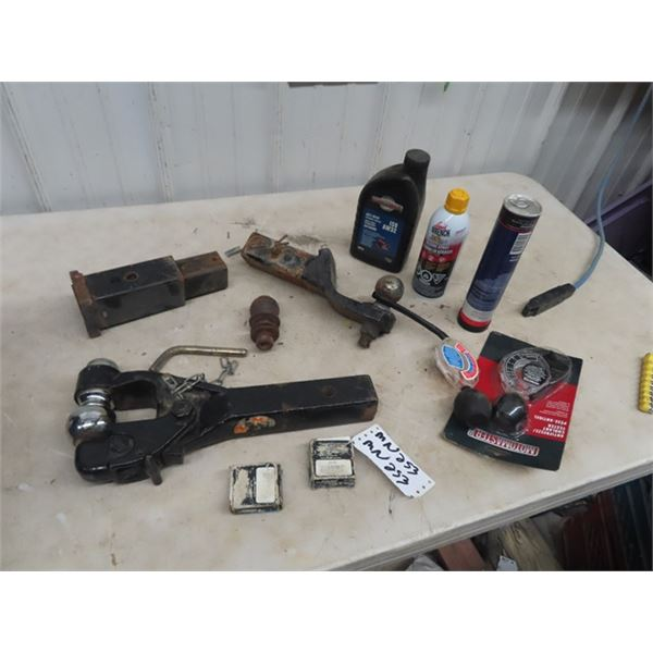 (MN) 3 Receiver Hitches, Antifreeze Testers, Tube Grease , Liquid Wrench Plus