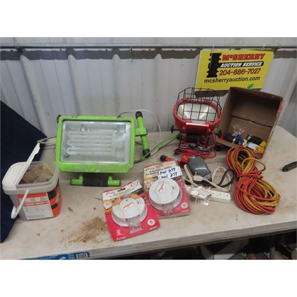 (MN) Halogen Lights, Ext Cords, Smoke Alarm, Electrician Plugs, Murets Plus More!