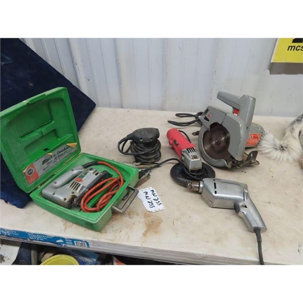 (MN) 5 Power Tools, Circ Saw, Angle Grinder, Sander, Jig Saw, & Drill