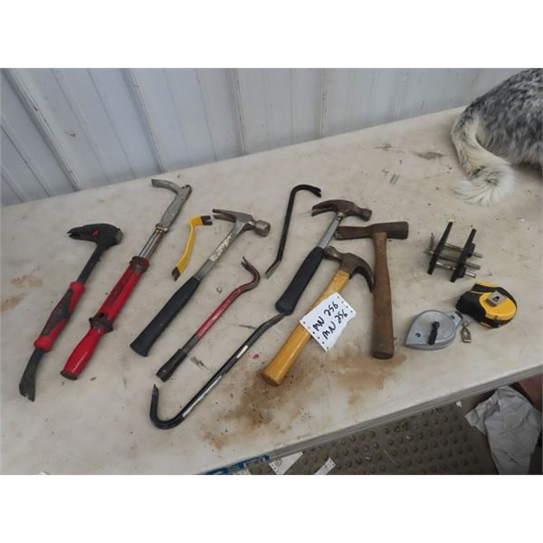 (MN) Framing Hammer, Nail Puller, Claw Hammer, Tape Measure, Plus More!