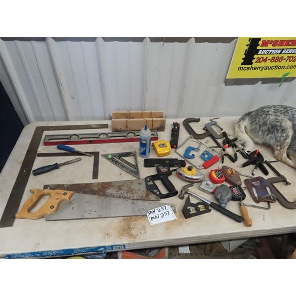 (MN) Saws, Squares, C Clamps, Tape Measure, Level Plus More!