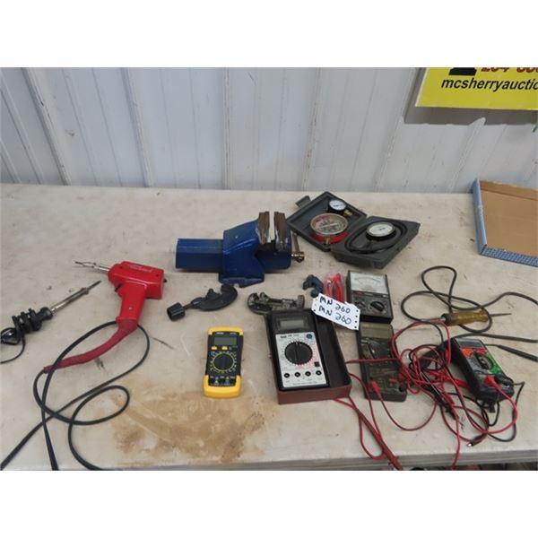 (MN) Vise, Sodering Gun, Various Testers, Pipe Cutters
