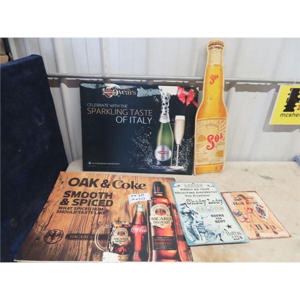(MN) 5 Signs, 2 Cardboard Martini & Bacardi & 3 Metal Signs- Sol, Shady Lady & Texas Holdem