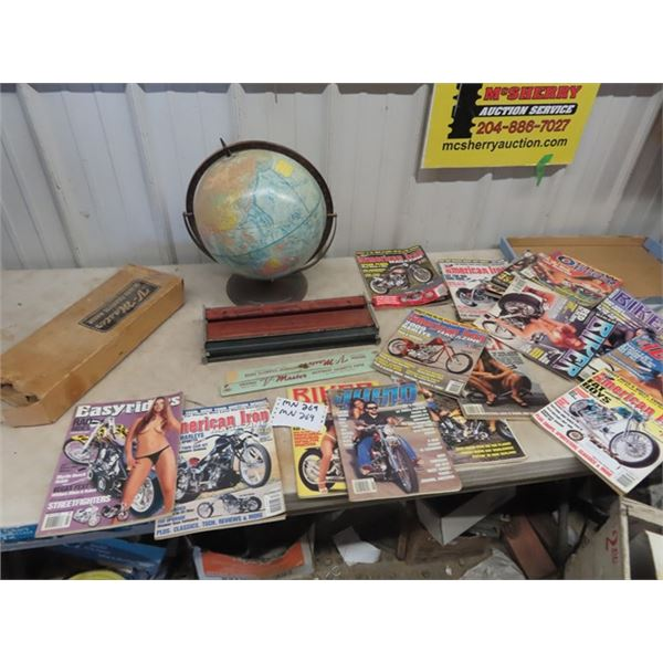 (MN) Globe, Viewmaster, Cigarette Maker, Bikers Magazines